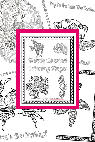 Under The Sea Beach Themed Printable Coloring Pages