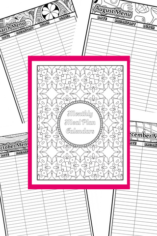 Monthly Menu Planners with Fun Coloring Borders