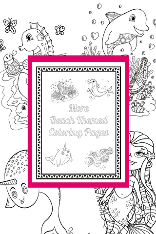 More Under the Sea Printable Coloring Pages {Mermaid Coloring Pages, Narwhal Coloring Pages, Dolphin Coloring Pages and Seahorse Coloring Pages}