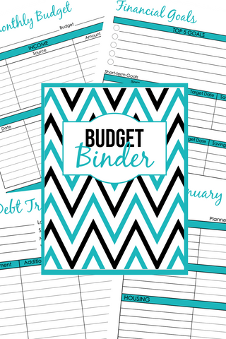 Teal Printable Budget Binder - 61 Different Budgeting Pages Plus Multiple Binder Covers and Spines