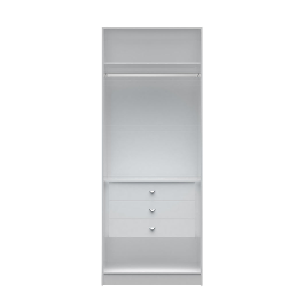 2.0 - 35.43 inch Wide Basic Wardrobe Closet 2 with 3 Drawers in White