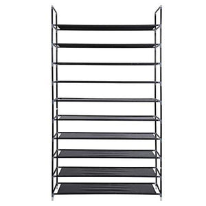 Exclusive meevrie 10 tiers shoe racks space saving non woven fabric shoe storage organizer cabinet tower for bedroom entryway hallway and closet black