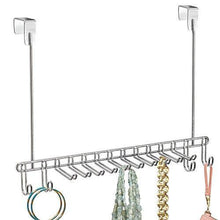 Load image into Gallery viewer, On amazon bochens metal over door hanging closet storage organizer rack for bedroom closet bath holds mens womens ties belts slim scarves jewelry accessories