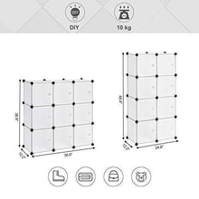 Load image into Gallery viewer, Exclusive songmics cube storage organizer 9 cube diy plastic closet cabinet modular bookcase storage shelving with doors for bedroom living room office 36 7 l x 12 2 w x 36 7 h inches white ulpc116wsv1