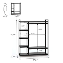 Load image into Gallery viewer, Storage little tree free standing closet organizer heavy duty closet storage with 6 shelves and handing bar large clothes storage standing garmen rack black