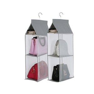 Results kingto detachable hanging handbag organizer 4 slot 2 in 1 dustproof foldable sundry wardrobe closet space saving organizers system for living room bedroom home usegrey