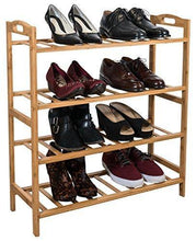 Load image into Gallery viewer, Cheap sorbus bamboo shoe rack 4 tier shoes rack organizer perfect bench for hallway entryway mudroom closet bedroom etc