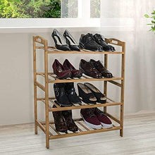 Load image into Gallery viewer, Discover sorbus bamboo shoe rack 4 tier shoes rack organizer perfect bench for hallway entryway mudroom closet bedroom etc