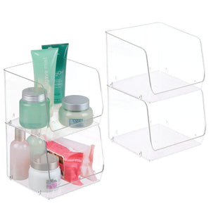 Home mdesign large stackable plastic bathroom storage organizer bin basket with wide open front for vanity countertops cabinets closets under sinks cube 7 75 wide 4 pack clear