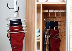 Related eco life sturdy s type multi purpose stainless steel magic pants hangers closet hangers space saver storage rack for hanging jeans scarf tie family economical storage 1 pce