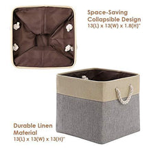 Load image into Gallery viewer, Discover the decomomo cube foldable storage bin 3 pack collapsible sturdy cationic fabric storage basket with handles for organizing shelf nursery home closet laundry office grey beige 13 x 13 x 13