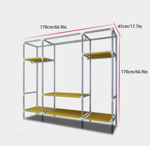 Top yanfaming closet organizer wardrobe closet portable closet shelves steel pipe thickened reinforced blackout cloth fabric storage assembly wardrobe b_66 9 x 66 9 x 17 7in