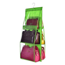 Load image into Gallery viewer, 6 Pocket Hanging Handbag Organizer for Wardrobe Closet Transparent Storage Bag Door Wall Clear Sundry Shoe Bag with Hanger Pouch