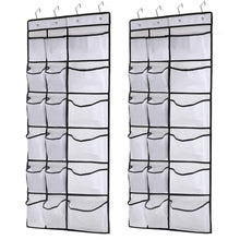 Load image into Gallery viewer, Discover the kootek 2 pack over the door shoe organizers 12 mesh pockets 6 large mesh storage various compartments hanging shoe organizer with 8 hooks shoes holder for closet bedroom white 59 x 21 6 inch