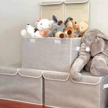 Load image into Gallery viewer, Discover the large storage boxes 3 pack ezoware large linen fabric foldable storage cubes bin box containers with lid and handles for nursery closet kids room toys baby products silver gray