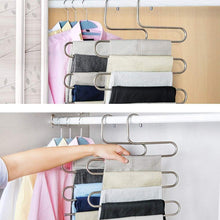 Load image into Gallery viewer, Heavy duty syidinzn pants hangers rack holder stand shelf organizer stainless steel s shape multi purpose hangers storage rack for clothes pants jeans trousers scarfs ties towels closet