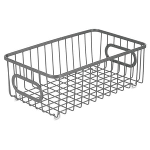 Amazon mdesign metal farmhouse kitchen pantry food storage organizer basket bin wire grid design for cabinet cupboard shelves countertop closet bedroom bathroom small wide 4 pack graphite gray