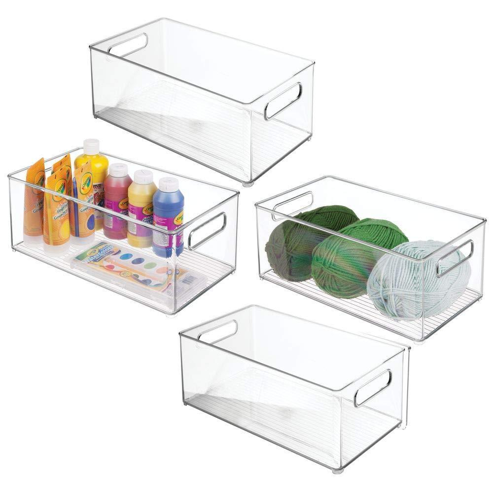 The best mdesign largeplastic storage organizer bin holds crafting sewing art supplies for home classroom studio cabinet or closet great for kids craft rooms 14 5 long 4 pack clear