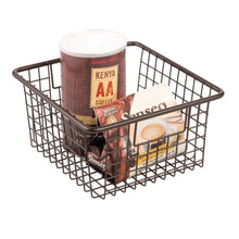 Load image into Gallery viewer, Shop here mdesign farmhouse decor metal wire food storage organizer bin basket with handles for kitchen cabinets pantry bathroom laundry room closets garage 10 25 x 9 25 x 5 25 4 pack bronze