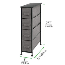 Load image into Gallery viewer, Purchase mdesign narrow vertical dresser storage tower sturdy metal frame wood top easy pull fabric bins organizer unit for bedroom hallway entryway closet textured print 4 drawers charcoal gray