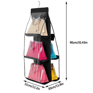 Great geboor hanging handbag organizer dust proof storage holder bag wardrobe closet for purse clutch with 6 larger pockets black