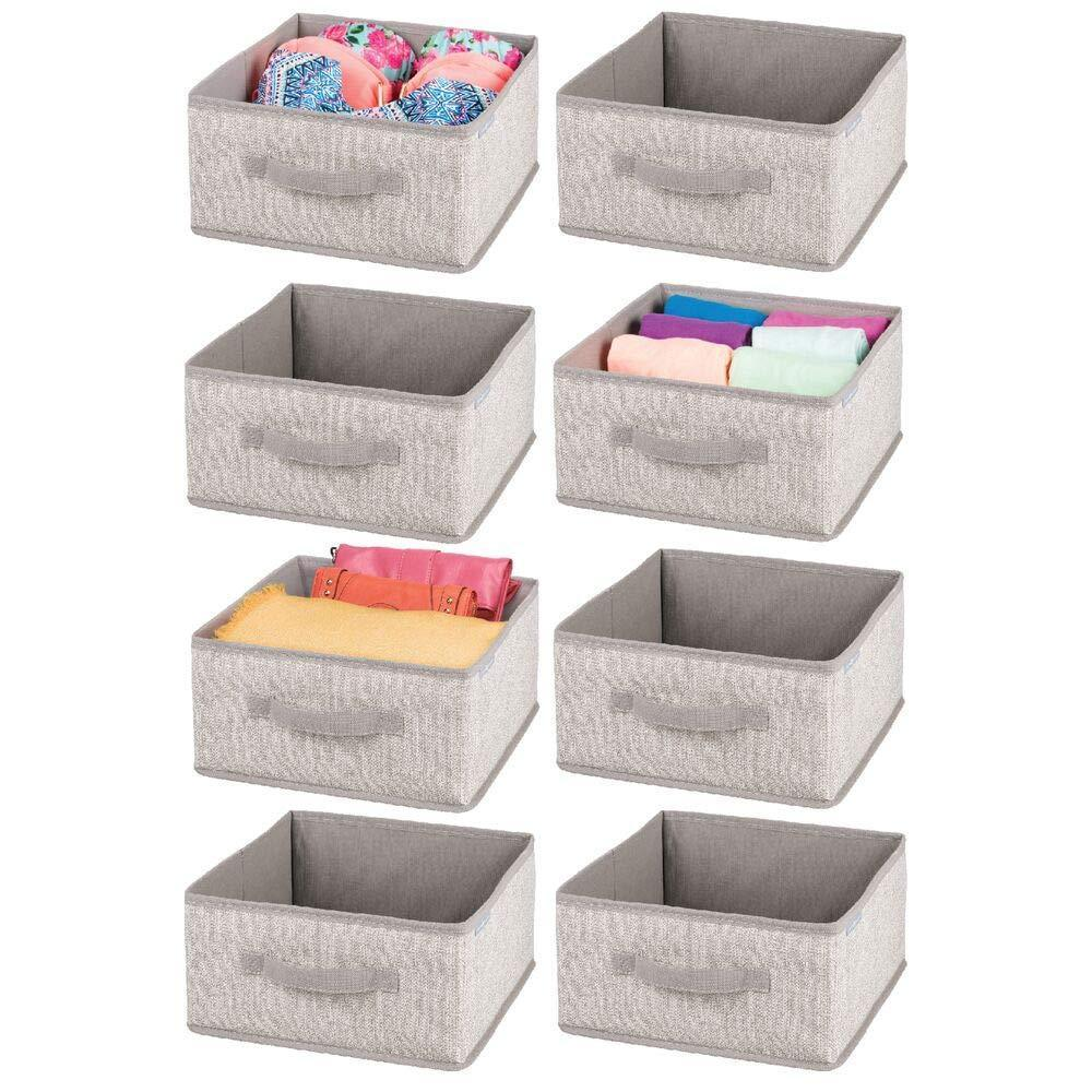 Best mdesign soft fabric modular closet organizer box with handle for cube storage units in closet bedroom to hold clothing t shirts leggings accessories textured print 8 pack linen tan