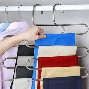 Featured peiosendor s type pants hangers multi purpose stainless steel magic closet hangers space saver storage rack for hanging jeans scarf tie family economical storage 3