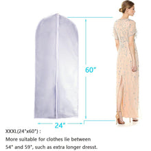 Load image into Gallery viewer, Latest eanxo garment bag for storage 60 inch lightweight clear white peva breathable winter coats bags set of 6 with study full zipper for long dress clothes storage closet