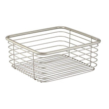 Load image into Gallery viewer, Organize with mdesign modern bathroom metal wire metal storage organizer bins baskets for vanity towels cabinets shelves closets pantry kitchens home office 9 75 square 4 pack satin