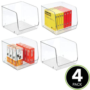 Amazon mdesign large stackable plastic home office storage organization bin basket with wide open front for cabinets closets drawers desks tables workspace cube 7 75 wide 4 pack clear