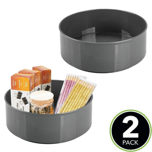 Best mdesign deep plastic spinning lazy susan turntable storage container for desktop drawer closet rotating organizer for home office supplies erasers colored pencils 2 pack charcoal gray