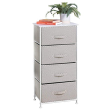 Load image into Gallery viewer, Save mdesign vertical furniture storage tower sturdy steel frame wood top easy pull fabric bins organizer unit for bedroom hallway entryway closets chevron zig zag print 4 drawers taupe
