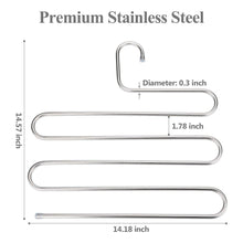 Load image into Gallery viewer, Buy trusber stainless steel pants hangers s shape metal clothes racks with 5 layers for closet organization space saving for pants jeans trousers scarfs durable and no distortion silver pack of 5