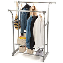 Load image into Gallery viewer, Purchase ezoware heavy duty clothes rack dual bar commercial grade garment coat clothes closet organizer hanging rack with 2 tier bottom shelves for balcony boutiques bedroom chrome finish