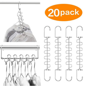 Save meetu space saving hangers magic wonder cloth hanger metal closet organizer for closet wardrobe closet organization closet system pack of 20
