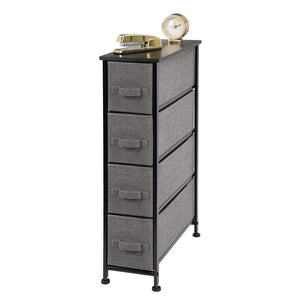 Save mdesign narrow vertical dresser storage tower sturdy metal frame wood top easy pull fabric bins organizer unit for bedroom hallway entryway closet textured print 4 drawers charcoal gray