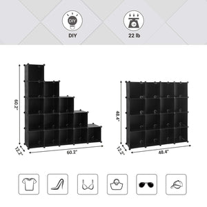 Selection songmics cube storage organizer 16 cube book shelf diy plastic closet cabinet modular bookcase storage shelving for bedroom living room office 48 4 l x 12 2 w x 48 4 h inches black ulpc44bk