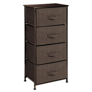 New mdesign vertical dresser storage tower sturdy steel frame wood top easy pull fabric bins organizer unit for bedroom hallway entryway closets textured print 4 drawers espresso brown