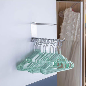 Home wall mounted clothes hanger organizer stainless steel hanger storage rack closet space saving self adhesive no need nails