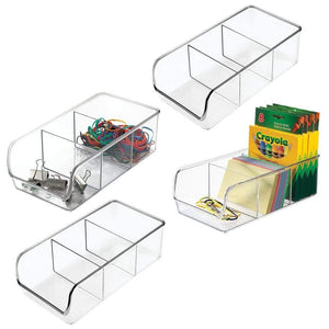 Budget friendly mdesign divided plastic home office desk drawer organizer storage bin for cabinets closets drawers desktops tables workspaces holds pens pencils erasers markers 3 sections 4 pack clear