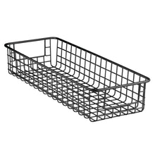 Load image into Gallery viewer, Top mdesign household wire drawer organizer tray storage organizer bin basket built in handles for kitchen cabinets drawers pantry closet bedroom bathroom 16 x 6 x 3 4 pack matte black