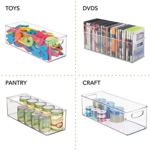 Discover the mdesign plastic stackable household storage organizer container bin with handles for media consoles closets cabinets holds dvds video games gaming accessories head sets 8 pack clear