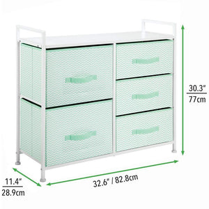 New mdesign wide dresser storage tower furniture metal frame wood top easy pull fabric bins organizer for kids bedroom hallway entryway closet dorm chevron print 5 drawers mint green white