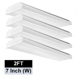 Best seller  antlux 2ft led wraparound light 20w flush mount led garage shop lights 2400lm 4000k neutral white 2 foot commercial linear ceiling lighting fixture for kitchen laundry workshop closet 4 pack