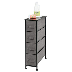 Results mdesign narrow vertical dresser storage tower sturdy metal frame wood top easy pull fabric bins organizer unit for bedroom hallway entryway closet textured print 4 drawers charcoal gray