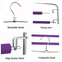 Load image into Gallery viewer, Latest clothes pants hangers 2pack multi layers metal pant slack hangers foam padded swing arm pants hangers closet storage organizer for pants jeans scarf hanging purple 4pack