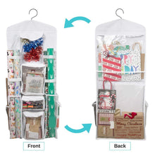 Load image into Gallery viewer, Products houseables wrapping paper storage gift wrap organizer 10 pockets 43 x 17 white clear plastic home closet organization hanging craft holder for christmas decorations ornaments ribbons