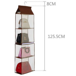 Save on kingto detachable hanging handbag organizer 4 slot 2 in 1 dustproof foldable sundry wardrobe closet space saving organizers system for living room bedroom home usegrey