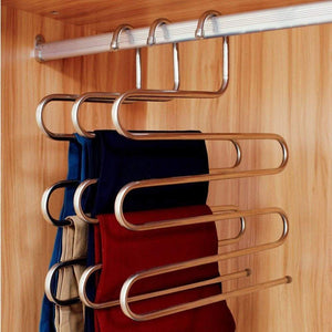 Online shopping eco life sturdy s type multi purpose stainless steel magic pants hangers closet hangers space saver storage rack for hanging jeans scarf tie family economical storage 1 pce