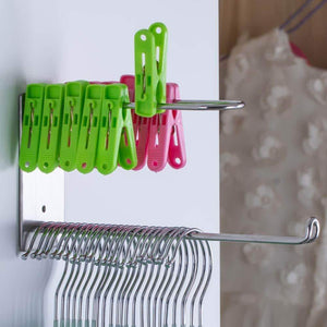 Heavy duty wall mounted clothes hanger organizer stainless steel hanger storage rack closet space saving self adhesive no need nails